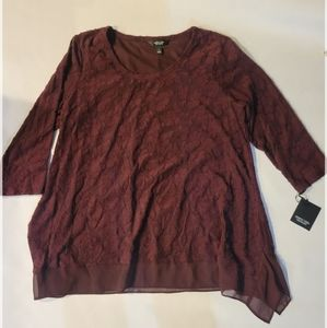 Simply Vera burgundy  loose fit blouse size large